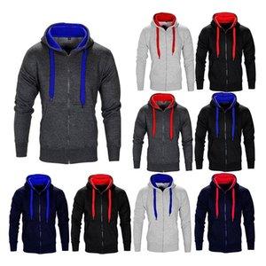 Mens Cardigan Hoodies Casual Jogger Zipper Coats Hooded Sweatshirts Contrast Color Hoodies Hip Hop Outerwear Tops