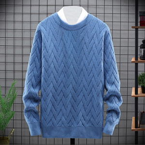 O neck Sweater Men Autumn Winter Basic Twist Knitted Pullovers 2020 Men Clothing Solid Color Simple Design Jumper Knitwear Male 1114