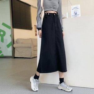 Skirts Long Skirt Spring 2021 Korean Style High Waist Slim Mid-length Denim A-line Women