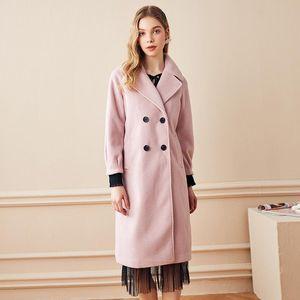 Women's Trench Coats Korean Fashion Velvet Coat For Women Streetwear Office Lady Trenchcoat Vintage Wool Pink Winter