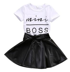 Новая мода малыша детская девушка одежда набор летние короткие рукава мини-босс футболки топы + кожаная юбка 2шт наряд для детей