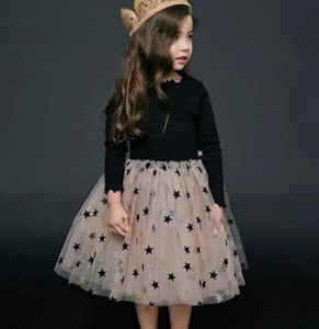 Kids Designer Clothes Girls Tutu Lace Dresses Yarn Star Children Party Dress Long Sleeve Girl Dresses Boutique Kids Clothing YW3823L HB