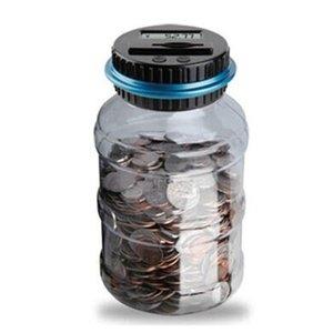 أصبع البنك عداد العملة الإلكترونية الرقمية LCD عد عملة المال التوفير مربع جرة عملات معدنية تخزين مربع مقابل الدولار اليورو GBP المال 158 S2
