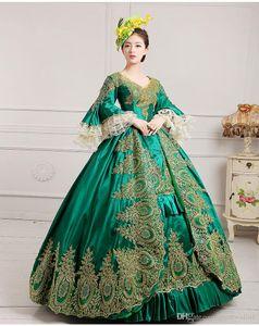 Роскошное зеленое вышивка Золотое кружевное средневековое платье Ренессансное платье королевы платье викторианской / Мари Антуанетта / колониальный Belle Ball Ball