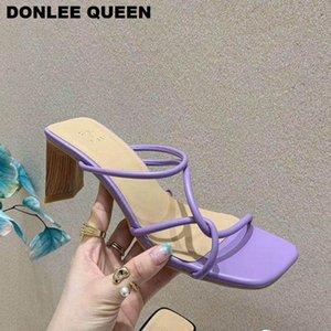 Terlik 2021 Garip Yüksek Topuk Sandalet Kadınlar Dar Bandı Slaytlar Zarif Bayanlar Ahşap Blok Topuklu 6 cm Yaz Ayakkabı