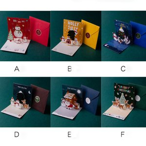 Christmas Greeting Cards Xmas Eve Greetings Happy Holiday Card Three-dimensional Santa Claus Snowman GWB11404