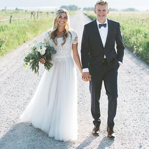 Vestido boho Wedding Dresses A Line Lace Outdoor Summer Beach Bridal Gowns Jewel Neck Cap Sleeves Floor Length Cheap Girls Marriage Gowns