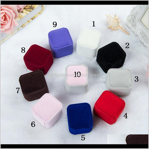 Fashion Jewelry Gift Boxes Packaging 10 Colors Square Shape Velvet Wedding Engagement Couple Rings Classic Luxury Show Case Box Rxxgj A7Mrh