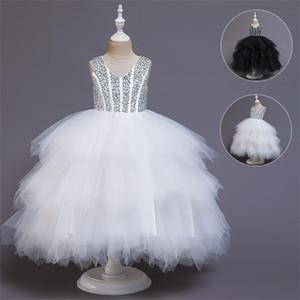2021 Summer White Girl Tutu Dress Elegant Kids Dresses For Girls Party And Wedding Clothing V-Neck Lace Princess Show Dress C0223