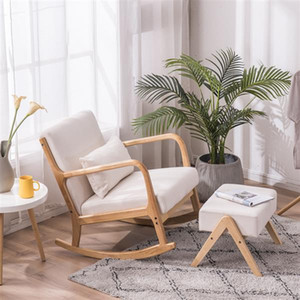 Whosale Unique design living room comfortable upholstered leather wooden leisure modern easy rocking chair for adult