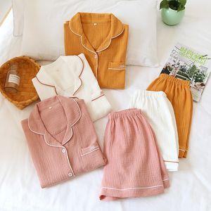 Couple 100% Cotton Pajamas for Women Summer Short Sleeve Tops + Shorts Men Home Suit Solid Loose Homewear Female Sleepwear Set 201113