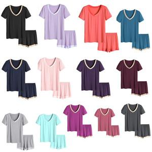 Summer Womens Pajama Sets Short Sleeve V Neck Solid Color Sleepwear Fashion Casual Ladies Underwear Women Clothes