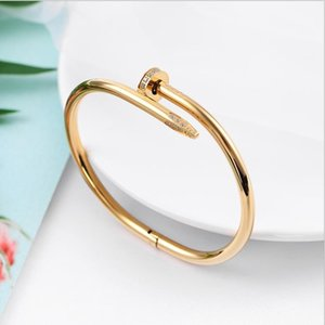 Stainless Steel gold silver nails diamond cz bangle bracelet men and women classic luxury exquisite lovers gift jewelry