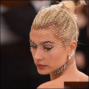 Jewelrybling White Diamante Hoop Headband Rhinestone Crystals Birdcage Veil Wedding Combs Hair Jewelry Aesories Gift Drop Delivery 2021 Pzj7
