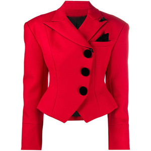 New Sexy Women Red Blazers Lion Head Button Double Breasted Classic Suit Coat Female Formal Business Slim Blazer Jacket Women Clothing E22