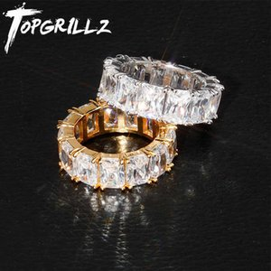 TOPGRILLZ 1 Row Solitaire Tennis Men's Ring Copper Charm Baguette Cubic Zircon Iced Ring Fashion Hip Hop Jewelry For Gifts Y0611