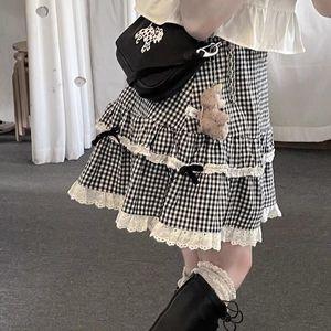 Skirts Harajuku Kawaii Plaid Skirt Women Ruffle Lace Patchwork Bow A-line Lolita Japanese Sweet Soft Girl Summer Egirl