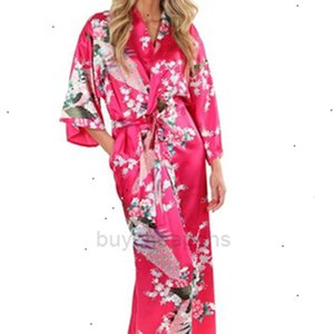 Silk Womens Bathrobe Sleepwear 2015 Femme Women Lingeries Kimono For Women Floral Bridesmaids Long Robe Bride Silk Robe XH97D7