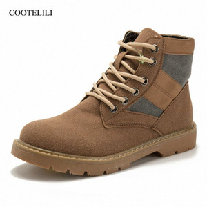 COOTELILI Fashion Ankle Boots For Women Autumn Winter Patchwork Rubber Shoes Women Lace Up Suede Leather Boots 35 40 Shoe Boots Over K T9Ma#