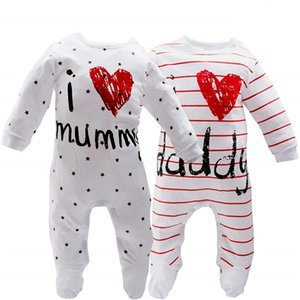 Roupas Infantil Menina Meninos Manga Longa Eu Love Papai Daddy Mummy Macacões BabyGrow Sleepsuits Bebê Romper BodySuit Outfit D30 210309