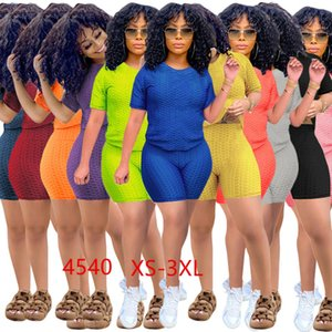 XS-3XL Plus Size Outfits Summer Tracksuits Yoga Sweatsuits Women Jogging Suit T-shirt+Shorts Skinny 2 Piece Sets Plain Sports Set 4540
