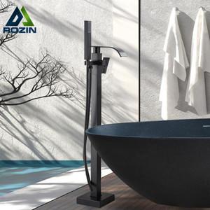 Rozin opaco nero vasca da bagno doccia rubinetto quadrato pavimento in piedi vasca da bagno rubinetti cascata rubinetto bagno rubinetto caldo acqua fredda miscelatore rubinetto