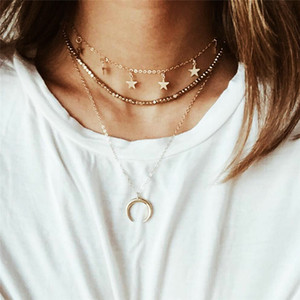 Vintage Gold Color Star Moon Necklace & Pendant Fashion Double Layer Chain Chokers Necklace for Women Bohemian Jewelry