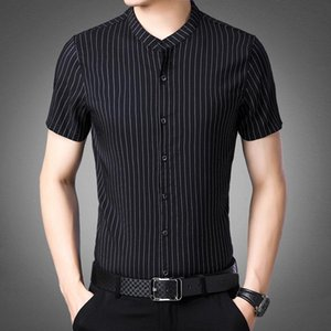 Men's New Arrival 2021 Shirt Slim Fit Male Casual Business Working Striped Buttons Short Sleeve Formal Dress Shirts Men Clothing