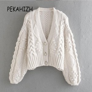 2021 Spring V-Col Cardigan Blanc Sweater élégant Bouton à manches longues épaisses Pull tricoté Dame Casual Lâche Chic Top épuzs