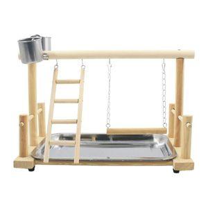 Puerta de madera de escalada portátil Perca de madera Suministros para mascotas con la jaula de la bandeja Pie de entrenamiento de la jaula Partner Playstand