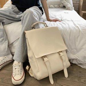Mode Frauen Rucksack PU Leder Schultasche Massive Farbe Rucksäcke für Jugendliche Gilrs Große Kapazität Reiserucksack Bücher Tasche
