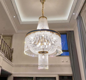 Modern crystal large chandelier  villa living room hollow cladding spiral staircase