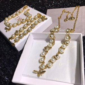 D home 2021 New Pearl Necklace net red same Bracelet bee Tassel Earrings women's jewelry brass material SHUP