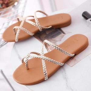 Mulheres de verão calçados de verão mulheres estreito tecer ouro trazer slides sexy ponta ponta de pé sandálias slipper sapatos sandalen dames 13w7 #
