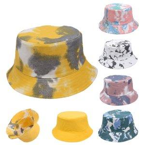 2021 Double Side can wear !!! Tie-dye Bucket Hat 4 New styles Fisherman Hat Sun Cap Newest Street Outdoor Sports Tide Hat Spring Fall LLA455