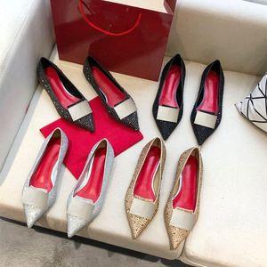 Высококачественные женские носить Новый плоский каблук мода заостренный бриллиант Женская обувь неглубокая алмазная квадратная кнопка Одно обувь формальная обувь