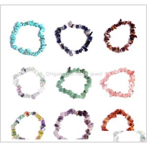 Natural Healing Crystal Bracelet Sodalite Chip Gemstone 18Cm Stretch Bracelet Natural Stone Bracelets Mixed Gemstone Chakra Bracelet H Kxrqz