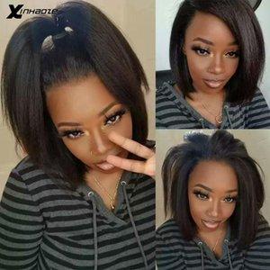 Lace Wigs Light Yaki Straight 13x4 Frontal Human Hair For Women Coarse Kinky Brazilian Short Bob 4x4 Closure Wig