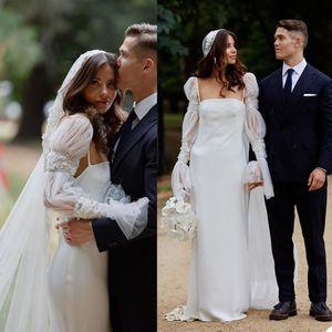 Summer Beach Mermaid Wedding Dresses Simple Long Sleeve Satin Appliques Bridal Gowns Backless Wedding Dress vestidos de novia