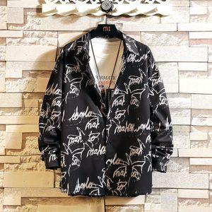 2021 Новый повседневный бренд мужской свободный хип-хоп уличная одежда печать рубашки длинные рукава черная белая весна осень плюс leverasian размер m-5xl x6w4