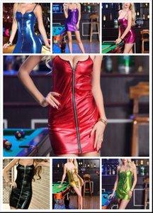 Patent leather light Camisole Front zipper Pure color sex shop s xxxxl sexy latex dress pvc dress clubwear leather dres