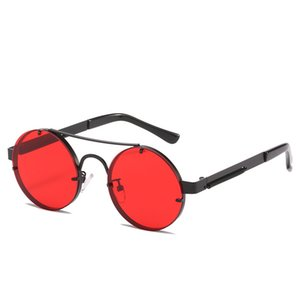 Red Fashion lady cool uxury glasses Europe and America Retro steampunk top quality sunglasse man round Frame sunglasses woman personality spring leg glasse