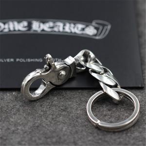 New 925 Стерлинговое серебро Handmade Crosses Ключ Кольца Ключ Цепочка Американская Европейская Античная Серебряная Мода Аксессуары Панк Готический Стиль