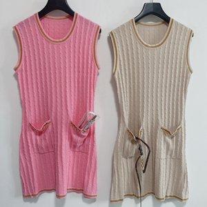 Shipping Free 2021 Autumn Pink Khaki Solid Print Autumn Women's Dresses Brand Same Style Women's Runway Dresses DH083