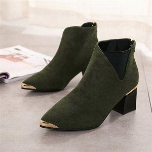 Botinhas cootelili mujer botas de tornozelo para mulheres preto básico moda camurça botas de couro fêmea apontado 00dc #