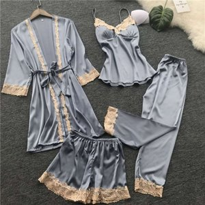 Women Sexy Gown Sleepwear Sets 4 Pieces Pyjamas Lace Pajamas Sleep Lounge Set Pijama Silk Night Gown&Robe Pants Pajama Suit