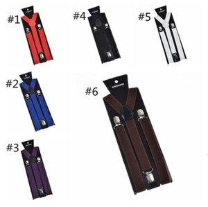 Y-back adulto suspender ajustable soporte de soild color clip-on suspensión elástica moda hombres niños correas de bebé correas BWC6203