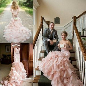 Blush Pink Wedding Dresses Mermaid Crystals Beaded Ruffles Ruched Sweetheart Neckline Sweep Train Lace up Back Country Wedding Gown vestido