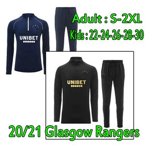 20 21 Männer + Kinder Glasgow Rangers Trainingsanzug Überleben 2020 2021 Defoe Hagi Morelos Kent Fussball Jersey Erwachsene Trainingsanzüge Fußballtrainingsanzug