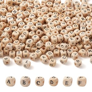 Letter Natural Wood Beads Square Alphabet Spacer Bead For Jewelry Making Handmade DIY Bracelet Necklace